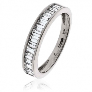 Diamond Baguette Half Eternity Ring 0.75ct, 18k White Gold