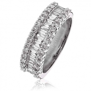 Diamond Baguette Half Eternity Ring 1.10ct, 18k White Gold