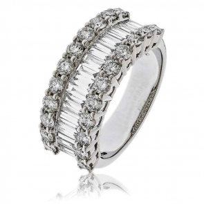 Diamond Baguette Half Eternity Ring 2.00ct, 18k White Gold