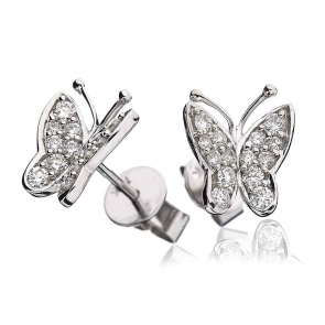 Diamond Butterfly Pave Stud Earrings 0.40ct, 18k White Gold