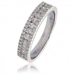 Diamond Channel Set Half Eternity Ring 0.55ct, 18k White Gold