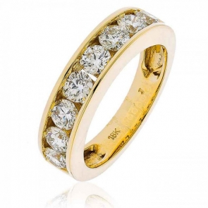Diamond Channel Set Half Eternity Ring 1.50ct, 18k Gold