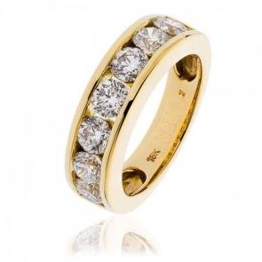 Diamond Channel Set Half Eternity Ring 2.00ct, 18k Gold