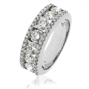 Diamond Channel Set Half Eternity Ring 2.00ct, 18k White Gold