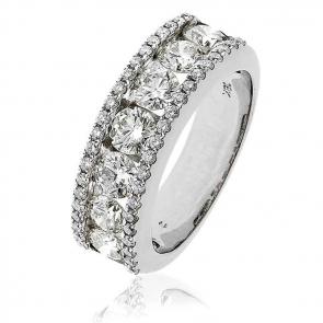 Diamond Channel Set Half Eternity Ring 2.00ct, 18k White Gold