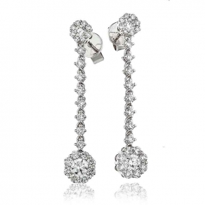 Diamond Cluster Drop Earrings 1.35ct, 18k White Gold