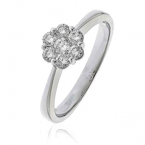 Diamond Cluster Engagement Ring 0.40ct, 18k Gold