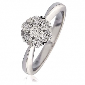 Diamond Cluster Engagement Ring 0.60ct, 18k White Gold
