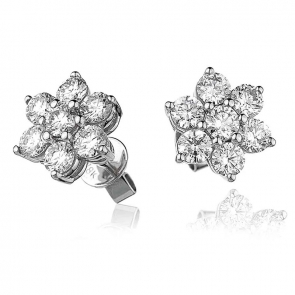 Diamond Cluster Flower Studs 2.00ct, 18k White Gold