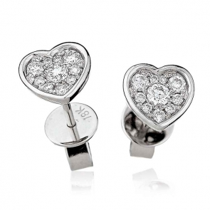 Diamond Cluster Heart Earrings with Bezel 0.30ct, 18k White Gold