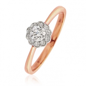 Diamond Engagement Ring With Milgrain 0.30ct, 18k Rose Gold