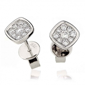 Diamond Cluster Square Earrings with Bezel 0.20ct, 18k White Gold