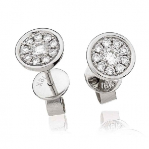 Diamond Cluster Stud Earrings with Bezel 0.30ct, 18k White Gold