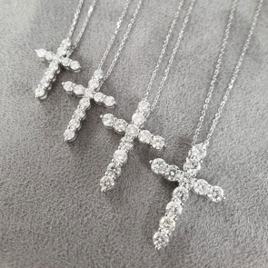 Cross Necklace 18k, H/SI2 Diamonds in Variable Sizes