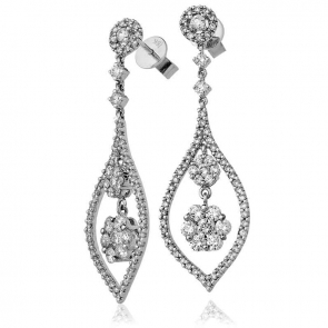 Diamond Elliptic Drop Earrings 2.05ct, 18k White Gold