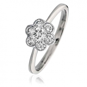 Diamond Flower Cluster Ring 0.50ct, 18k White Gold