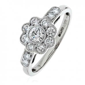 Diamond Flower Cluster Ring 0.70ct, 18k White Gold