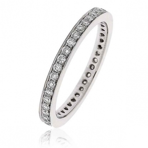 Diamond Full Eternity Ring 0.50ct Bead Set, 18k White Gold
