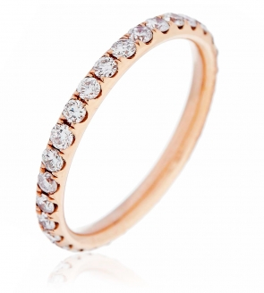 Diamond Full Eternity Ring 0.75ct, 18k Rose Gold