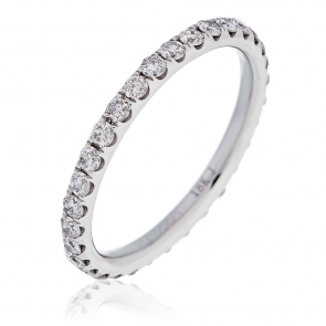 Diamond Full Eternity Ring 0.75ct, 18k White Gold