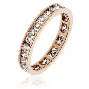 Diamond Full Eternity Ring Channel Set 1.00ct, 18k Rose Gold