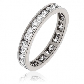Diamond Full Eternity Ring Channel Set 1.00ct, 18k White Gold