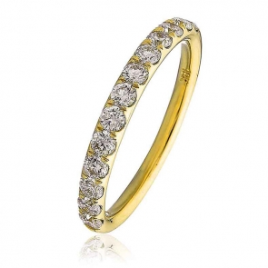 Diamond Half Eternity Ring 0.60ct, 18k Gold