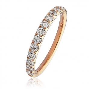 Diamond Half Eternity Ring 0.60ct, 18k Rose Gold