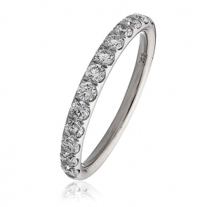 Diamond Half Eternity Ring 0.60ct, 18k White Gold