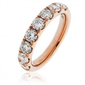 Diamond Half Eternity Ring 1.50ct, 18k Rose Gold