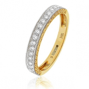 Diamond Half Eternity Ring with Millgrain 0.30ct, 18k Gold