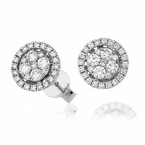 Diamond Halo Cluster Stud Earrings 0.70ct, 18k White Gold