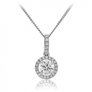 Diamond Halo Pendant Necklace 0.85ct, 18k White Gold