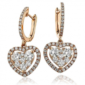Diamond Heart Drop Earrings 1.40ct, 18k Rose Gold
