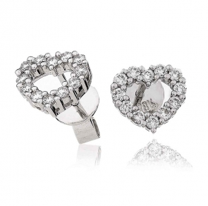 Diamond Heart Earrings 0.33ct, 18k White Gold