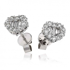 Diamond Heart Earrings 0.75ct, 18k White Gold