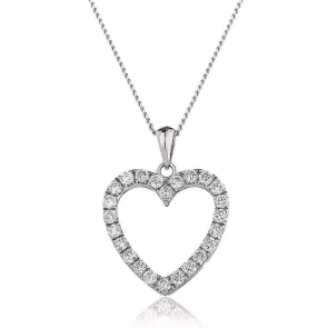 Diamond Heart Pendant Necklace 0.55ct, 18k White Gold