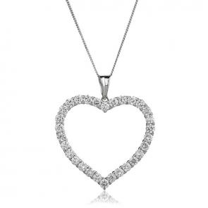 Diamond Heart Pendant Necklace  2.20ct, 18k White Gold