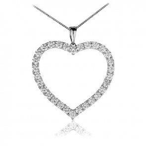 Diamond Heart Pendant Necklace 3.00ct, 18k White Gold