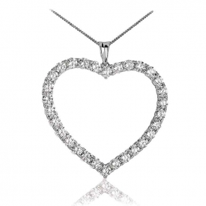 Diamond Heart Pendant Necklace 4.20ct, 18k White Gold