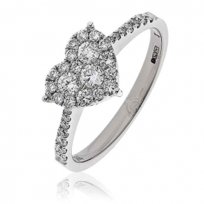 Diamond Heart Ring 0.50ct, 18k White Gold
