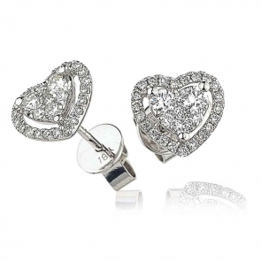 Diamond Heart Stud Earrings 0.65ct, 18k White Gold
