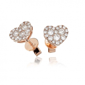 Diamond Heart Stud Earrings 0.70ct, 18k Rose Gold