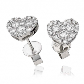 Diamond Heart Stud Earrings 0.70ct, 18k White Gold