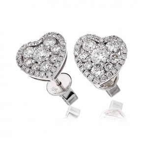 Diamond Heart Stud Earrings 1.45ct, 18k White Gold