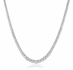Diamond Necklace Claw Set 6.65ct, 18k White Gold