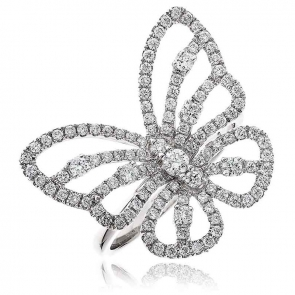 Diamond Pave Butterfly Ring 0.90ct, 18k White Gold