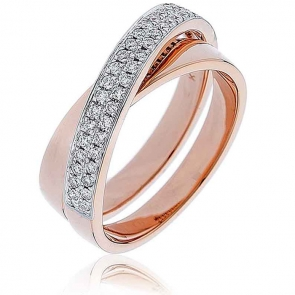 Diamond Pave Cross-Over Ring 0.30ct, 18k Rose Gold