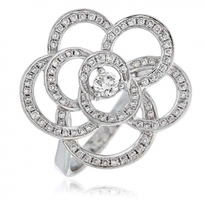 Diamond Pave Flower Ring 0.70ct, 18k White Gold
