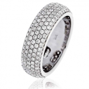 Diamond Pave Full Eternity Ring 2.00ct, 18k White Gold